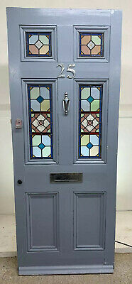 Victorian Stained Glass Front Door Reclaimed Old Period Antique Wood Pine Leaded