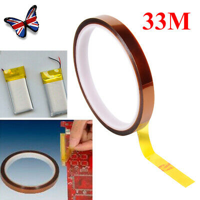 UK 33M x 10mm Kapton Tape High Temperature Heat Resistant Electrical Insulation