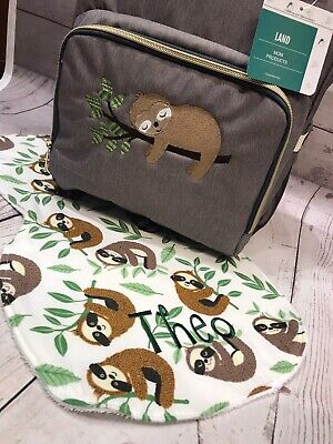 Land Diaper Bag Backpack With Embroirdered Sloth And Burp Cloth