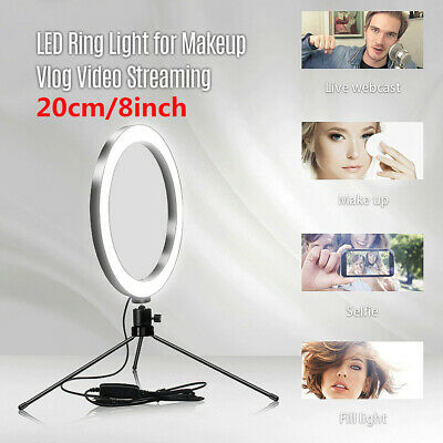 """8"""" LED Selfie Ring Light+Tripod Stand for Live Youtube Makeup Video Lighting J7A"""