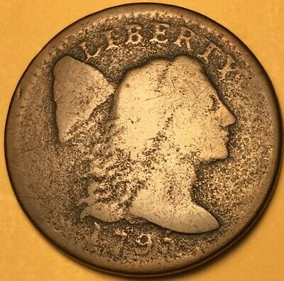 1795 Flowing Hair Large Cent S-76b Good,  R-1