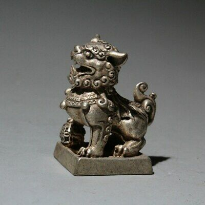 Collectable China  Old Miao Silver Hand-Carve Lovely Lion Rare Interesting Seal