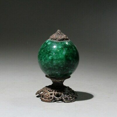 Collectable China Handwork Old Copper Mosaic Jade Delicate Noble Top Hat Statue