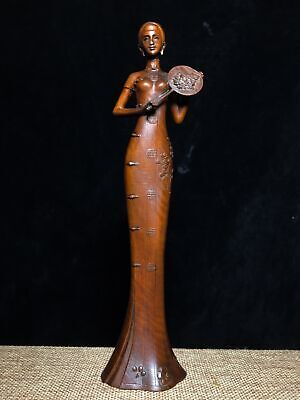 Collectable China Old Boxwood Hand-Carved Classical Belle Delicate Unique Statue