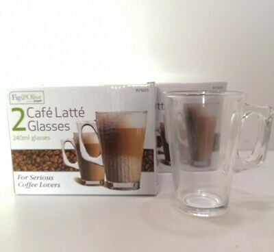 4 x Cafe Latte Glass Mugs - 240ml Clear Tall Coffee Cappuccino Cups - NEW