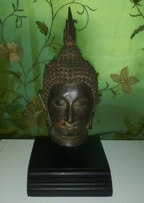 "Antique Bronze Ayuthia Sukhothai Meditation Buddha Head Bust 10"" Tall Thailand !"