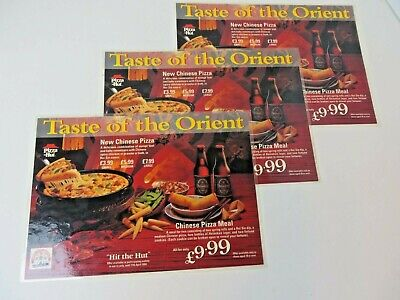 Vintage 1994 Great Britain Laminated Pizza Hut Placemat Lot of 3  #3354