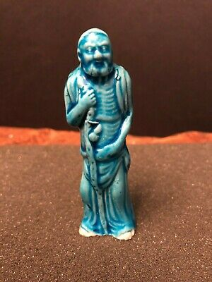 "Vintage / Antique 4"" CHINESE PORCELAIN TURQUOISE Glaze FIGURINE - Immortal"