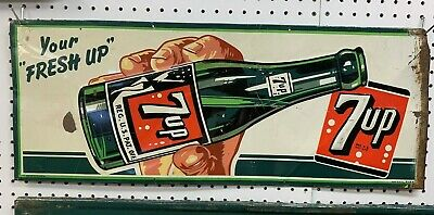 1949 Embossed and Painted Metal 7-Up Sign