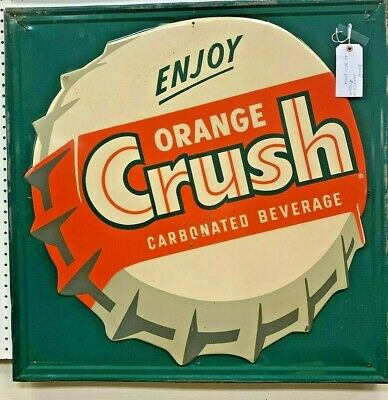 1940's Embossed and Painted Orange Crush Bottle Cap Soda Sign