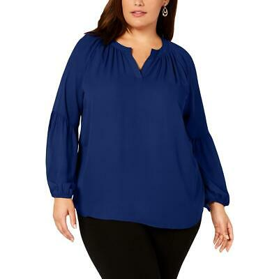 NY Collection Womens Blue Balloon Sleeve Workwear Blouse Top Plus 3X BHFO 6839