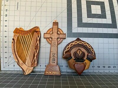 Islandcraft Celtic Carvings set of 3 wood carvings - Harp, Cross, and Claddagh