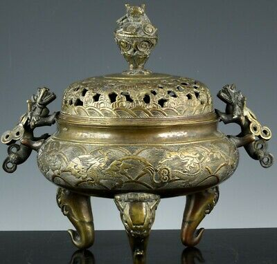 Large Antique Chinese Bronze Mythical Dragon Creatures Censer Ming Seal Mark