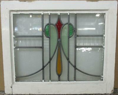 "OLD ENGLISH LEADED STAINED GLASS WINDOW Stunning Abstract Sweep 20.5"" x 17"""