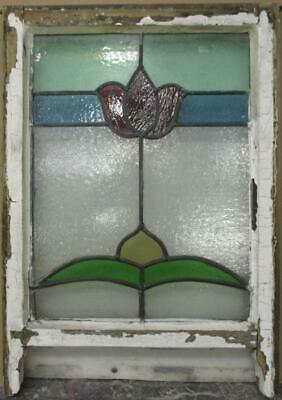 "EDWARDIAN ENGLISH LEADED STAINED GLASS SASH WINDOW Pretty Floral 18"" x 22.25"""