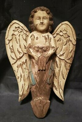 """Antique Large Hand Carved Wood Angel - 14 1/2"""" By 10"""" By 3"""""""