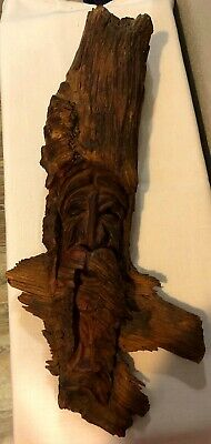 VINTAGE TREE WIZARD HAND CARVED WOODEN KNOT BEARDED MAN 16 x 8 HEAVY SIGNED