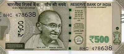 INDIA 500 Rupees 2017 P New Letter A - Lucky 786 aUNC Banknote