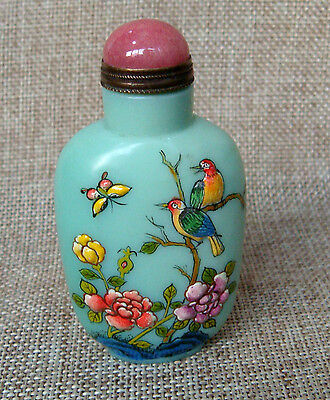 Exquisite Peking Enamel Glass Handmade Painting Carved Flower Bid Snuff bottle