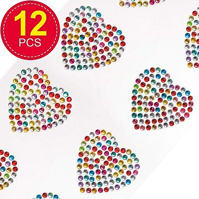 Rainbow Heart Crystal Gem Stickers (Pack of 12) Embellishments for Kids Arts and