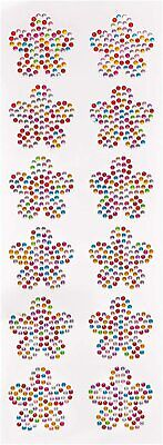 Rainbow Flower Crystal Gem Stickers (Pack of 12) Embellishments for Kids Arts