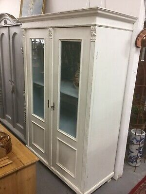 Antique Painted Pine Glazed Cupboard / Wardrobe / Larder Unit Sn-805b