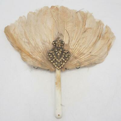 Antique Ladies Ostrich Feather Jeweled Handle Fan