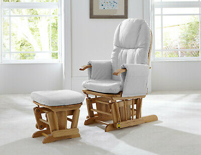 New Tutti Bambini Reclining Glider Chair & Stool natural wood with Grey Cushion