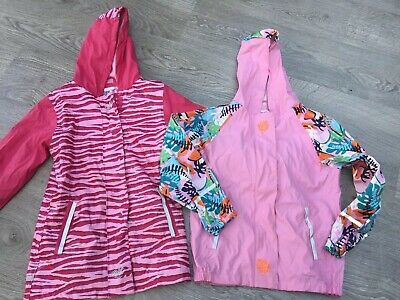 2 Girls Waterproof Coats Aged 6-8 Years One Fleece Lined 122/128cms Lupilu