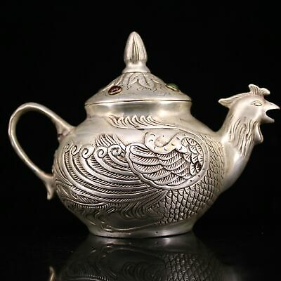 Qianlong Years Collect Old Miao Silver Hand-Carved Elegant Phoenix Noble Tea Pot