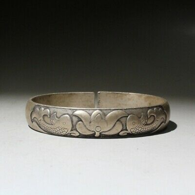 Collectable China Old Miao Silver Hand-Carved Flowers Fsih Auspicious Bracelet