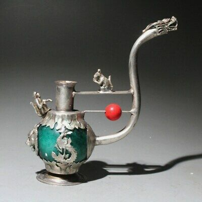 Collectable China Miao Silver & Jade Hand-Carved Phoenix Dragon Auspicious Pipe
