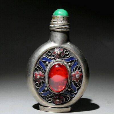 Collect Miao Silver Cloisonne Handwork Mosaic Agate Royal Delicate Snuff Bottle