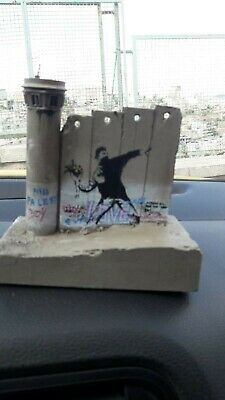 Banksy Tower Flower Thrower Walled Off Hotel wall section, Receipt ORIGINAL RARE