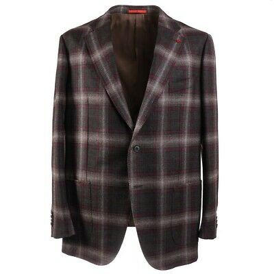 NWT $3590 ISAIA Layered Check Soft Wool-Cashmere Sport Coat 44R (Eu 54)