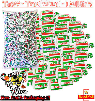Spearmint Chews Retro Sweets Old Fashioned Mint Flavour Traditional Chewy Candy