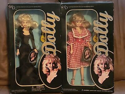 2 Dolly Parton Goldberger Dolls Black Dress and Gingham Dress 1996