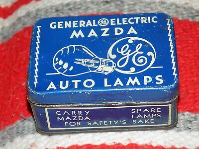 Vtg GENERAL ELECTRiC GE Mazda Auto Lamps BLue hinged TiN Made In USA