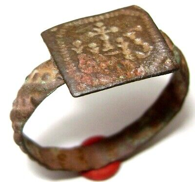 "Ancient Medieval Jesuit Religious BRONZE FINGER RING with hristogram ""IHS"""