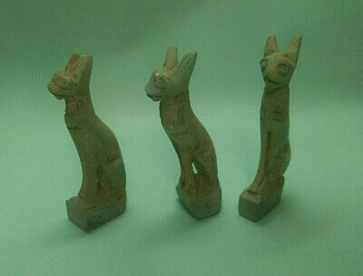 3 ANTIQUE ANCIENT EGYPTIAN ANTIQUE CAT Bast Bastet Statue 1365-1124 BC