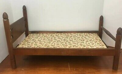 Antique Wooden Hand Made Four Poster Doll Baby Sized Bed With Flowered Pad