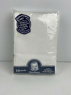 Birdseye Flatfold Cloth Diapers, White, 10 Count Gerber