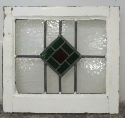 "OLD ENGLISH LEADED STAINED GLASS WINDOW Pretty Diamond Design 18"" x 15.75"""