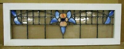 "OLD ENGLISH LEADED STAINED GLASS WINDOW TRANSOM Pretty Floral 31.5"" x 11.5""."