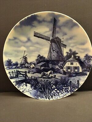 "Ter Steege BV Delft Blauw Handdecorated Blue Plate 7.5"" Windmills"