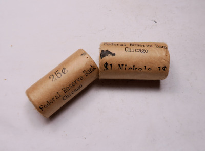 (2) Sealed Wheat Penny & Buffalo Nickel Half Roll Set // Federal Reserve Chicago