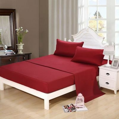 Burgundy Solid Duvet Set + Fitted Set All Sizes 1000 Tc Egyptian Cotton