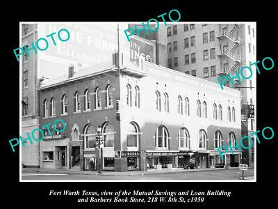 OLD LARGE HISTORIC PHOTO OF FORT WORTH TEXAS THE MUTUAL SAVINGS BUILDING c1950