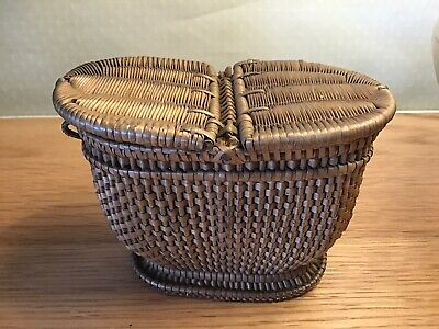 Old Miniature Finely Woven Wicker Basket Super Hand Crafted In Great Condition