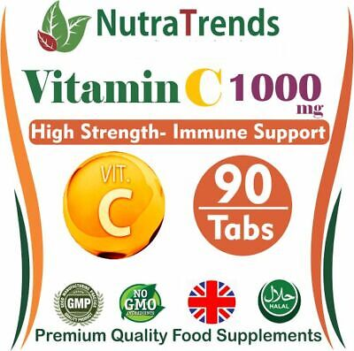 Pure Vitamin C 1000mg Tablets High Strength- Immune Support- Vegan UK Produced